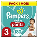 Pampers Couches-Culottes Baby-Dry Pants Taille 3 (6-11kg) Maintien 360° pour Éviter les Fuites, Faciles à Changer, 180 Couches-Culottes (Pack 1 Mois)