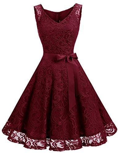 Dressystar DS0010 Brautjungfernkleid Ohne Arm Kleid Aus Spitzen Spitzenkleid Knielang Festliches Cocktailkleid Weinrot L