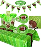 Football Party Supplies Sports Theme Party Pack for Game Day and Birthday Including Dinner Plates, Dessert Plates, Cups, Napkins, Spoons, Knives, Forks, Tablecloth, Banner, 182Pcs, Serves 20 (A)