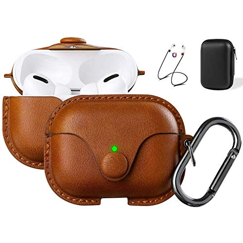 Maxjoy Compatible Airpods Pro Case Cover, Airpods 3 Leather Case Protective Cover with Keychain...