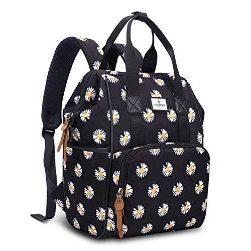 Vogshow Diaper Bag Backpack with Changing Pad, Multifunction Mini Baby Travel Back Pack, Stylish Floral Maternity Changing Bags, (Black+Daisy)