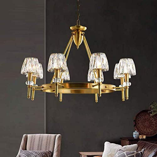 LEBBD Salón lleno de luz cobre dormitorio moderno minimalista creativo restaurante lleno de cobre lámparas cristal araña 8 acogedoras