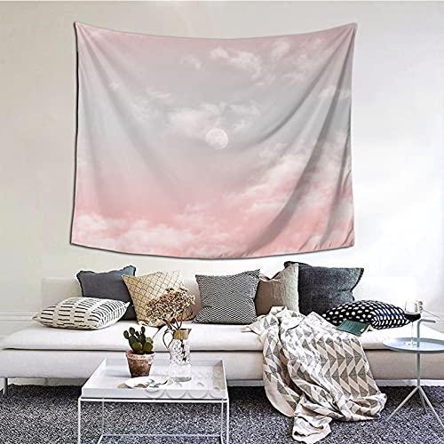 Tapiz de luna rosa nube para colgar en la pared, decoración del hogar, cortina para dormitorio, collage dormitorio, oficina, 60 x 51 pulgadas