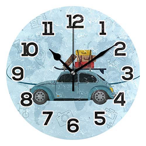 BONIPE Retro Trave Pattern Auto Flugzeug Wanduhr, geräuschlos, Nicht tickend, Acryl, 23,9 cm, Heimdekoration, Büro, Schule, runde Uhr