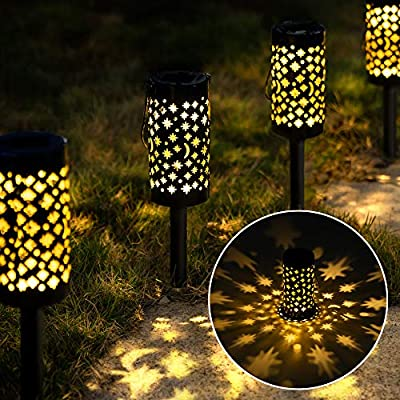 GIGALUMI Solar Pathway Lights, 6 Pack Landscape Lights Solar Powered Waterproof, Hanging Solar Lights Decorative Star Moon Solar Path Lights Outdoor for Walkway, Garden, Patio, Lawn, Yard, Christmas