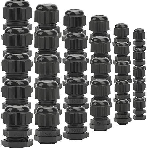 Prensaestopa Impermeable Nylon Conector Cable Glandula/ 30 piezas Prensastopas de plástico/para el hogar, jardín, cable de iluminación exterior/Negro