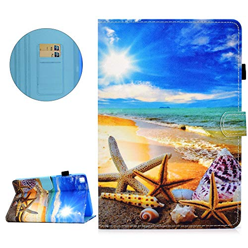 Flip Case for Samsung Galaxy Tab A 10.1 2016 T580/T585 with Pencil Holder, DasKAn Colorful Design Magnetic Folio Stand PU Leather Full Body Protective Tablet Cover with Card Slots, Sunny Beach