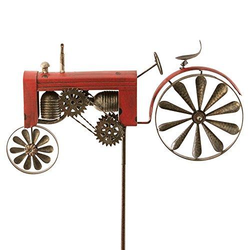 Windspiel Trecker Traktor rot Metall Windrad Garten Dekoration Terrasse