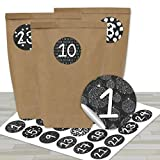 24 Sacs en Papier pour Calendrier de l'Avent avec Autocollants - Motif Noir et Blanc - 16
