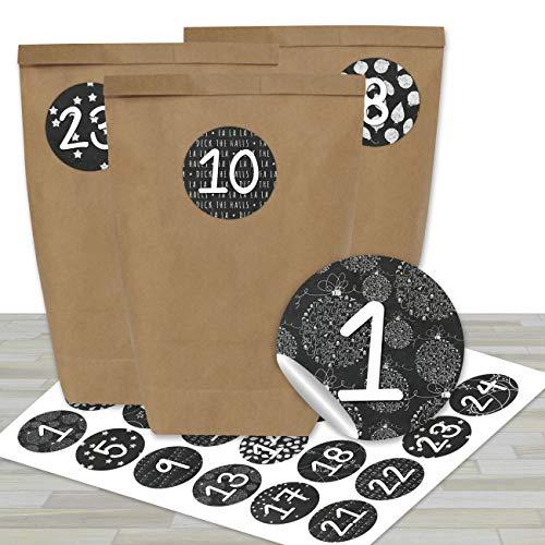 DIY Adventskalender zum Befüllen - mit 24 braunen Papiertüten und 24 schwarz-weißen Aufklebern - zum Selbermachen und Basteln - Mini Set Nr 16 - Weihnachten 2019 für Kinder
