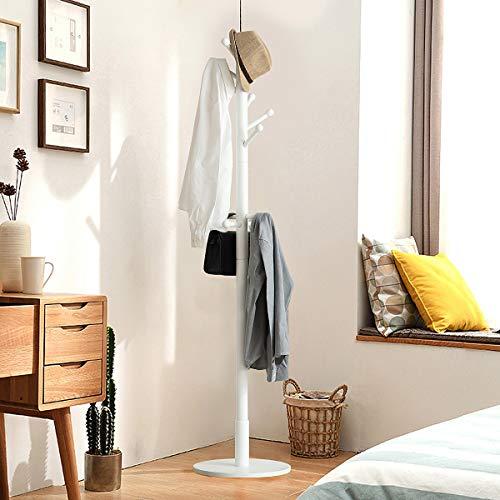 TinyTimes Garderobenständer, Kleiderständer, Garderobe, Holz, Runde Basis, Mutiger Hauptpol, 11 Haken, Stabiler Fuß, 40 × 40 × 178 cm (Weiß)