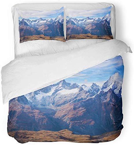 SUPERQIAO Housse de Couette Décor Montagne Alpes à Zermatt Suisse Paysage Brume 3 Pièce Brossé Microfibre Tissu Imprimer Literie Set Couverture