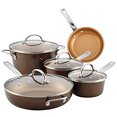 Ayesha Home Collection Porcelain Enamel Nonstick Cookware Set, Brown Sugar, 9-Piece