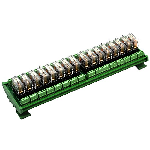 Electronics-Salon DIN Rail Mount AC/DC 24V control 16 SPDT 16Amp Pluggable Power Relay Module, G2R-1-E