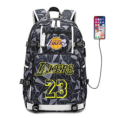 NBA Lakers Mochila Escolar Mochila de Baloncesto de Gran Capacidad USB Hombres y Mujeres Mochila A3