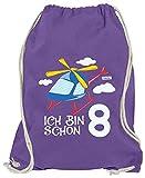 Hariz - Bolsa de deporte con texto en alemán 'Ich Bin Schon', 8 helicópteros, nubes, regalo de cumpleaños, regalo Plus tarjetas de regalo, morado (Morado) - AchterGeburtstag24-WM110-14-1