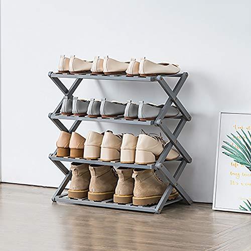 4-nivel Estante Plegable De Zapatos De Bambú,Estante De Almacenamiento De Zapatos De Pie Libre,Portátil Instalación Gratuita Almacenamiento De Zapatos Para Balcón,Baño-Gris. 50x25x55cm(20x10x22inch)