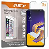 REY Pack 3X Pellicola salvaschermo per ASUS ZENFONE 5Z (ZS620KL), Pellicole salvaschermo Vetro Temperato 9H+, di qualità Premium
