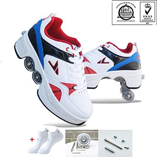 NOLLY Rollschuhes 2-In-1 Multifunktionale Deformation Schuhe Quad Skate Rollschuhe Skating Outdoor Sportschuhe Für Erwachsene,39