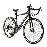 ロードバイク 自転車 700C シマノ14段変速 2WAYブレーキシステム搭載 ドロップハンドル 超軽量高炭素鋼フレーム ライトのプレゼント付き スポーツバイク ブラック
