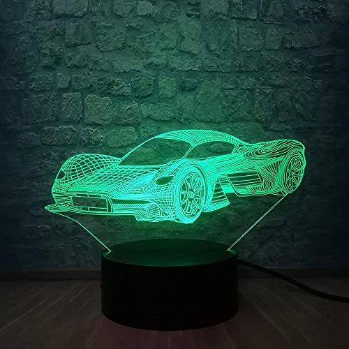Luces De Ilusión 3D De La Noche Lámpara De Escritorio Coche Deportivo 7 Colores Touch Sensor Lámpara Cargador Usb Dormitorio Decoración Regalo De Cumpleaños Para Niños