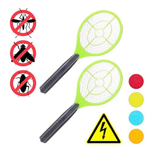 Relaxdays 2 x elektrische Fliegenklatsche, ohne chemische Stoffe, Fliegentöter, gegen Fliegen, Mücken & Moskitos, Fly Swatter, grün