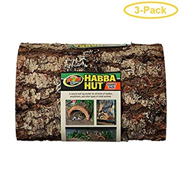 Zoo Med Habba Hut Natural Half Log with Bark Shelter Giant  11  L x 10.75  W x 4.5  H  - Pack of 3