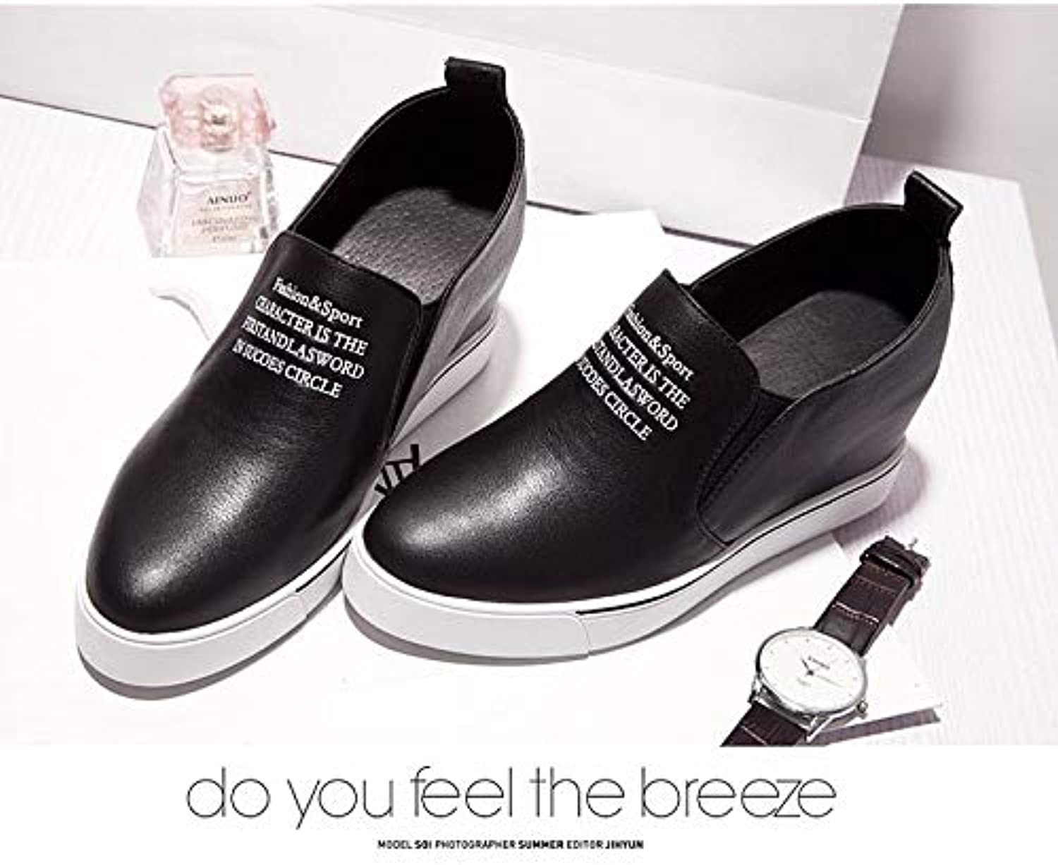 Women's shoes Leather Spring & Summer Comfort Sneakers Creepers White Black