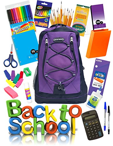 Back To School Fully Loaded Backpack Bundle 51 Pieces Includes All You Need in The Classroom: Paper, Calculator, Notebook, Glue, Pens, Pencils, Erasers, and More (Purple)