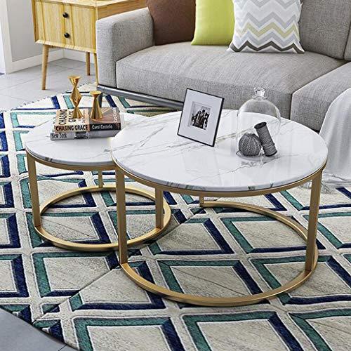 Muebles de decoración del hogar Juegos de 2 mesas de cóctel de finalización superpuestas en la Sala de Estar, Juegos de mesas de Nido apilables para decoración del hogar | Mesas Redondas de té/CAF