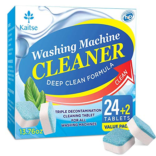 Kaitse Washing Machine Cleaner Tablets, Solid Washer Deep Cleaning Tablet, with Natural Formula, for Front and Top Load Washers, Value 26 Pack