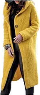 MogogN Womens Single Breasted Hooded Collar Outwear Knitwear Pure Color Cardigan Sweaters