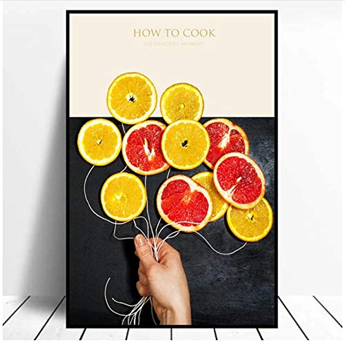 PDFKE Moderno Minimalista limón Naranja Fruta Restaurante Cocina decoración del hogar Impresiones de Pintura impresión decoración de Pared Lienzo Pintura -20x28 Pulgadas sin Marco