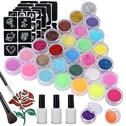 30 Farben Glitzer Tattoo Set, 24 Großen Glitzertuben und 6 Leuchtstoffe, 120 Blatt Einzigartig, Temporäre Flash-Tattoos Kit für Kinder und Erwachsene- Festivals, Partys, Spiele, DIY-Dekorationen