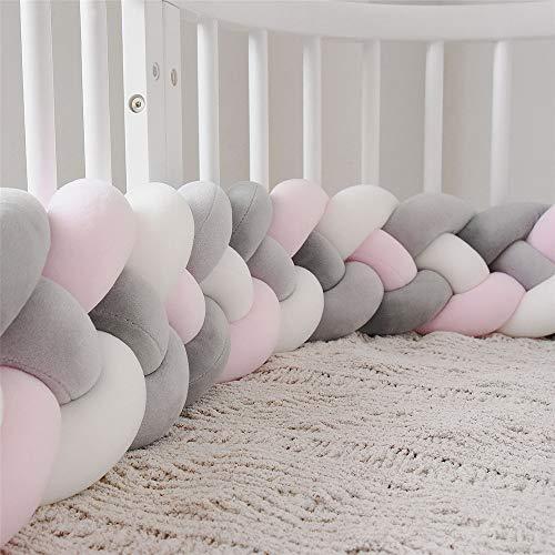 CULASIGN Bettumrandung Babybett Baby 4 Weben Nestchen Kinderbett Knotenkissen Kantenschutz Kopfschutz Stoßfänger Krippe Geflochtene Dekoration 2.2m (Hellrosa-weiß-grau-schwarzgrau)