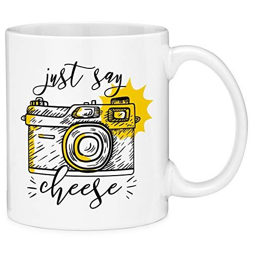 Taza de café de regalo con cita de cámara fotográfica Just Say Cheese (11 oz)