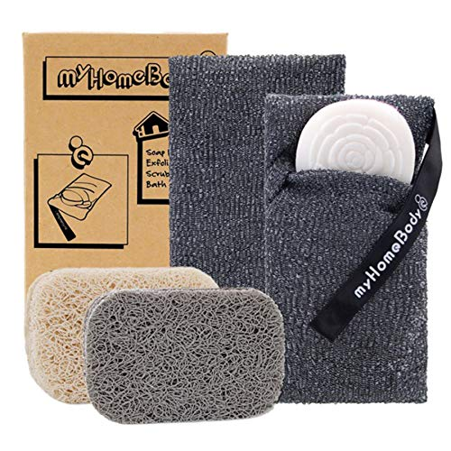 Soap Saver Pouch   Exfoliating Sponge Soap Pocket Body Exfoliator Sponges for Bath or Shower   Body Scrubber for Large Bar Soap or Leftover Soap Bits   2 Pack + 2 Piece Soap Lift Soap Saver Pads