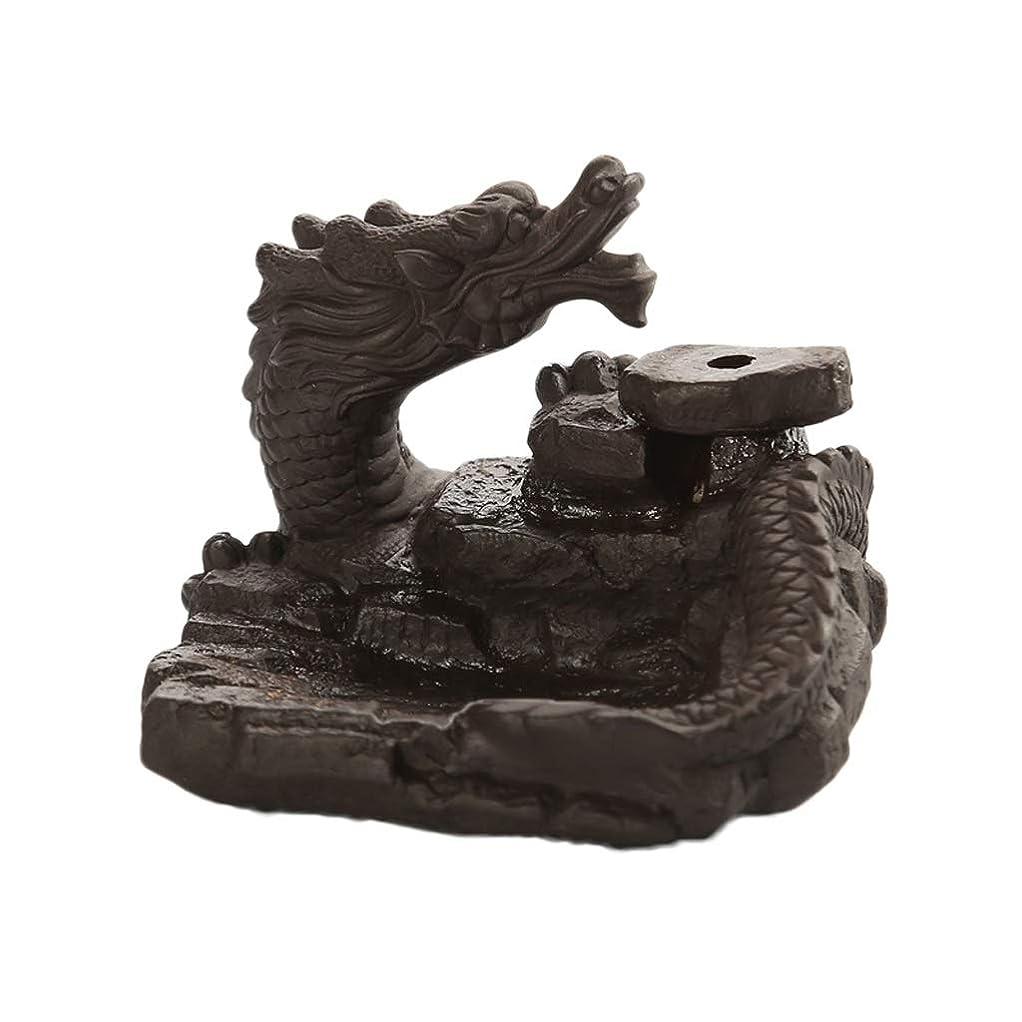 項目購入独特の家の装飾ドラゴン逆流還流香バーナーセラミックスティックホルダーコーンセンサー茶室飾り香炉 (Color : Black, サイズ : 3.46*3.14*2.36 inches)