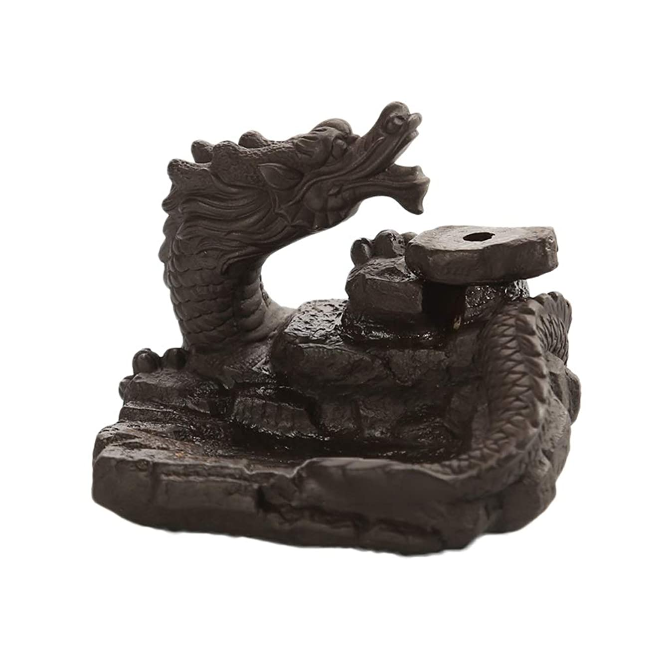 さようなら水を飲む対象家の装飾ドラゴン逆流還流香バーナーセラミックスティックホルダーコーンセンサー茶室飾り香炉 芳香器?アロマバーナー (Color : Black, サイズ : 3.46*3.14*2.36 inches)