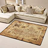 Treasure Map and Pirate Emblem Sailboat Compass Pretty Comy Modern Area Rug Floor Pad Rugs Bathroom Rug Mat Yoga Mat Home Decor for Kitchen/Living/Bedroom/Playing Room
