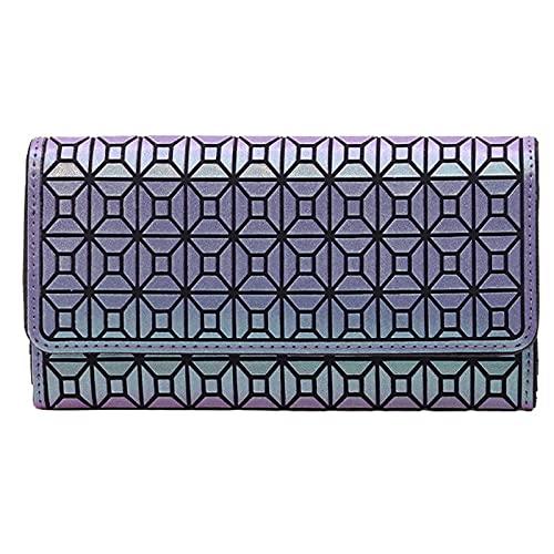 QIANJINGCQ moda todo-fósforo personalidad señoras mano monedero posición de múltiples tarjetas cool horizontal geométrico simple temperamento cartera portátil