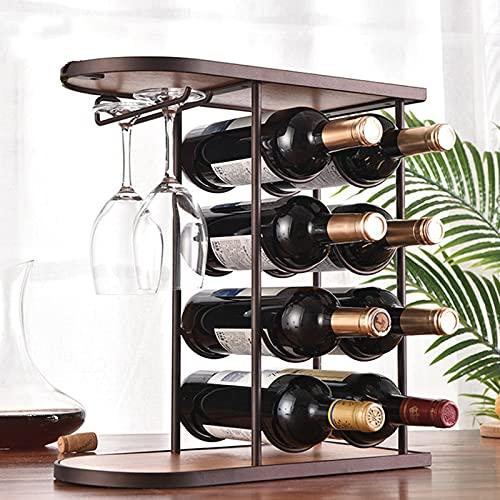 SUHETI Estante para Botellas de Vino, 8 Botellas, Soporte de Metal, Organizador de Almacenamiento de Vino, con Soporte para Copa de Vino