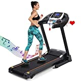 Caroma Folding Treadmill Portable, Treadmill for Home 2.25HP Power, Electric Treadmill with Incline Manual, Running Machine with APP Control, LCD and Pulse Monitor, 9 MPH Speed