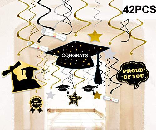 42PCS 2020 Graduation Party Supplies Decorations Hanging Swirl- Grad Star/Mortarboards/Diplomas Ceiling Foil Ornaments