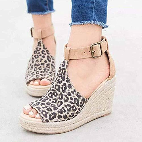 Dames sandalen Summer wig hak Plateau espadrilles leer punt open punt gesp 8 cm hiel platte schoenen vakantie luipaard 2019