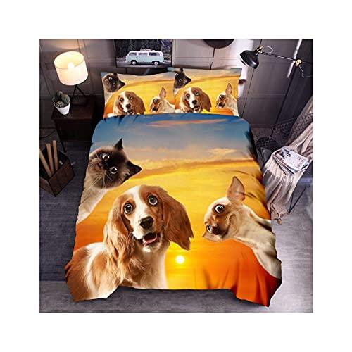 Juego de Animales en 3D, Funda de Edredón para Perros y Funda de Almohada, Bonito Patrón de Perro Mascota, Funda de Edredón de Microfibra para Niños, Adultos, Decoración,A-SetSingle:135×200cm