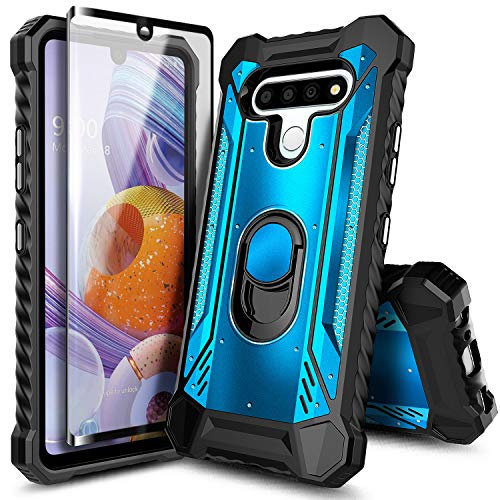 E-Began Case for LG K51, LG Reflect with Tempered Glass Screen Protector (Full Coverage), Aluminum Magnetic Metal Built-in Ring Stand, Full-Body Protective Shockproof Military Bumper Cover Case -Blue