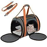 okmee trasportino per gatti e cani, trasportino gatto. struttura completamente traspirante, solida, spaziosa e confortevole. trasportino con materasso morbido per trasporto in treno/auto/aereo