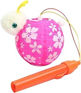 Panda Legends 2-Sets Cute Rabbit Kids Portable LED Cloth Lanterns for Mid-Autumn Festival Halloween, Rose Red