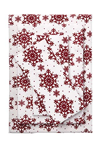 BrylaneHome Cotton Flannel Print Sheet Set - Queen, Cranberry Snowflake